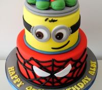 TMNT Minion and spiderman tiered birthday cake
