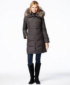 Calvin Klein Faux-Fur-Trim Puffer Down Jacket | macys.com