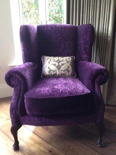 purple velvet wingback chair