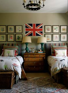 Bedrooms for Boys. Love the gallery wall! My flag would be the American flag... ;>