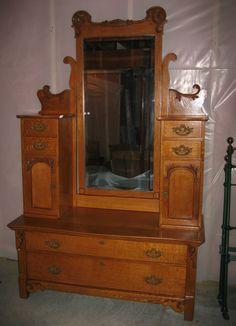 Unique RARE Antique Oak Side by Side Hotel Dresser w 2 Hatbox Towers Mirror | eBay