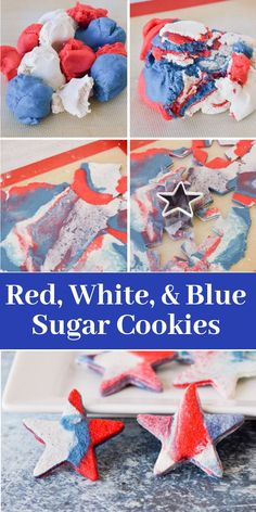 These cookies are the perfect patriotic dessert for potlucks, summer parties, or holidays like Memorial Day and of July! This simple marble decorating technique requires no icing, just food coloring! Try this fun and simple treat today! Potluck Desserts, Delicious Desserts, Dessert Recipes, White Food Coloring, Fourth Of July Food, July 4th, Vegan Gluten Free Cookies, Blue Cookies, Patriotic Desserts
