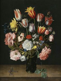 File:Jacob van Hulsdonck - A still life of tulips, roses, bluebells, daffodils, a peony and other flowers in a glass roemer on a wooden ledge with a dragonfly. Tulip Painting, Artist Painting, Painting & Drawing, Art Floral, Ikebana, Holland Flowers, Dutch Still Life, Dutch Artists, Old Paintings