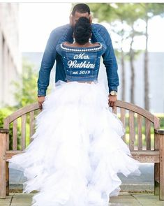 ❤️these engagement photos! And Ebony's custom jean jacket paired with jeans and a tulle skirt overlay. Ooooooo and the way the groom-to-be is checking her out.Congratulations and happy wedding planning! Wedding Goals, Wedding Pics, On Your Wedding Day, Wedding Attire, Perfect Wedding, Dream Wedding, Wedding Dresses, Wedding Ideas, Post Wedding