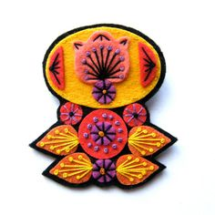TOTEM felt brooch pin with freeform embroidery - scandinavian style