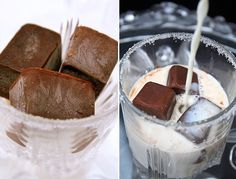 Chocolate ice cubes--Imagine in iced coffee!!! Chocolate ice:     200ml milk,     50 ml of water,     1 tablespoon unsweetened cocoa powder,     1 teaspoon sugar,     1 tablespoon instant coffee (optional),     70g dark chocolate (66%).  Bring all ingredients except chocolate to a boil in a saucepan. Pour over chocolate, let melt 5 min, then stir. Makes 1 try of chocolate ice cubes.