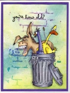 Crazy Bird, Crazy Cats, Diy And Crafts, Paper Crafts, Farm Animals, Crazy Animals, Animal Cards, Digi Stamps, Happy Birthday Cards