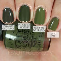 OPI Suzi - The First Lady Of Nails (Fall Washington D. pin, see link for the rest of comparisons ; OPI Suzi - The First Lady Of Nails (Fall Washington D. pin, see link for the rest of comparisons ; Do It Yourself Nails, How To Do Nails, Cute Nails, Pretty Nails, Green Nail Polish, Dark Green Nails, Opi Nail Polish Colors, Fall Nail Polish, Polish Nails