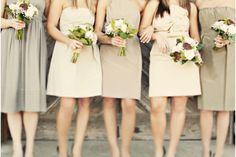 Mix and match neutral bridesmaid dresses (all would be mid-calf or tea length) @Mary Powers Shih @Annie Compean Esther What do you think?