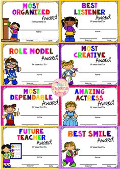 End of The Year Awards - Neujahr Kids Awards, Teacher Awards, Student Awards, Kindergarten Classroom Management, Kindergarten Art Projects, Classroom Schedule, Classroom Behavior, Kindergarten Worksheets, Award Certificates