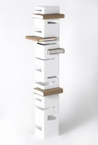 Bookshelf...substitute hooks for slits to make a coatrack...c