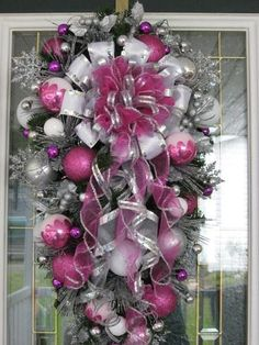 Pink and Silver Teardrop Christmas Wreath. --- Maybe purple, turquoise, and silver to match my tree!