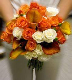 Bridal Bouquet- Clutch style- Orange and White flowers. Utah wedding flowers.