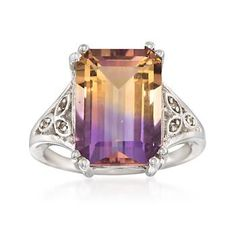 Ross-Simons - 7.75 Carat Emerald-Cut Ametrine Ring With White Topaz Accents in Sterling Silver - #849541