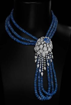 I prefer not to wear jewelry that you see coming and going. This beautiful necklace would work well with the Royal blue dress and coat, and I would try to emulate the look. (Cartier sapphire bead, carved sapphire and diamond necklace. Cartier Jewelry, Antique Jewelry, Jewelery, Vintage Jewelry, Cartier Bracelet, Bling Jewelry, Jewelry Accessories, Sapphire Necklace, Diamond Pendant Necklace