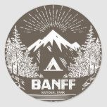 Banff National Park Classic Round Sticker   kayak gifts, survival gifts ideas, traveling gifts diy #nylonnetscrubbies #airstream #airstreamrenovation Mt Rainier National Park, Jasper National Park, Shenandoah National Park, Sequoia National Park, Grand Teton National Park, Rocky Mountain National Park, Yellowstone National Park, Yosemite National Park, National Parks