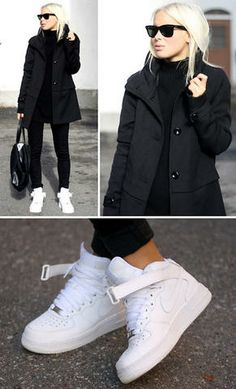 Black + white + Air Force Ones