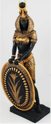 Magickal Products Goddess Isis 13 - This statue portrays the beloved Egyptian Goddess Isis as elegantly fierce and motherly, gazing out with a serene expression while she holds a shield marked with a symbol of the rebirth of the Nile. Isis Goddess, Egyptian Goddess, Egyptian Art, Egyptian Weapons, Egyptian Jewelry, African History, African Art, Ancient Egypt, Ancient History