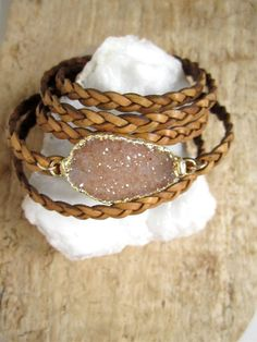 Leather Druzy Bracelet Drusy Quartz Braided by julianneblumlo