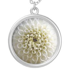 #White #Dahlia Close-up Personalized Necklace...#necklaces #jewelry #roses #flowers #floral #colorful #RoseSantuciSofranko #Artist4God #RosesRoses #Zazzle #accessories #customizable  #blooms #blossoms #buds #nature #petals #photography #forsale #pendants