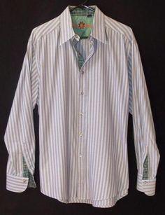 Robert Graham Mens Large Button Front Dress Shirt Flip Cuff Excellent Condition