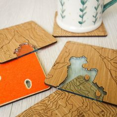Father's Day Gift - Lake District Coasters - laser etched oak coasters - gift for walkers & hikers