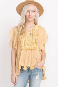 Crochet Paneled Lace-Up Top