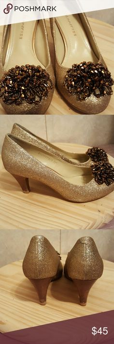 """Gorgeous gold C. Banner heels Simply stunning! Very unique! Adorable accents on front. Heel height 2.5"""" c. banner  Shoes Heels"""