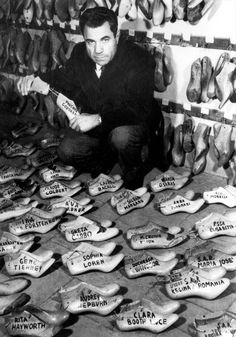 Ferragamo, with his shoe moulds for individual celebrities.