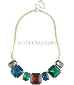 Kristall Zinklegierung Halskette, mit Verlängerungskettchen von 2.5lnch