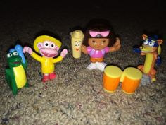 Dora Explorer Swiper Isa Map Boots Drums Figure Toy Lot Replacement Cake Topper