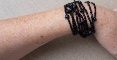 Cuff Bracelet Black Multi Strand Layered wrap by ThePillowBook, $38.00