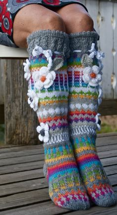 Over The Knee SocksThigh High SocksHand knit knee socks Crochet Socks, Knitting Socks, Crochet Clothes, Hand Knitting, Knit Crochet, Thigh High Socks, Knee Socks, Boot Socks, Rainbow Socks