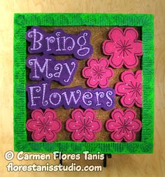 "Here's the second panel of a set I started last month to illustrate the saying ""April showers bring May flowers"". I printed the design on a Sulky Stick  n' Carve transfer sheet and used it to carve a piece of Smoothfoam. It's very fun to make! You'll find complete directions here: http://www.smoothfoam.com/blog/hand-carved-may-flowers-wallhanging/"