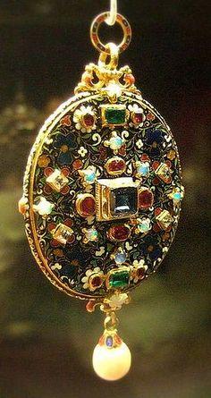 Gold enamelled gem-set locket.