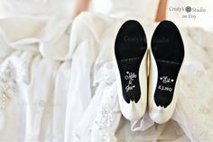 Couples Names Wedding Shoe Decals by CristysStudio on Etsy, $7.50......maybe....maybe with banana and bapple instead of names....maybe not
