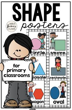 Makes a sweet bulletin board display and a great visual reference for students who need support for shapes and shape words. Classroom Layout, Classroom Posters, Classroom Organization, Learning Support, Fun Learning, Learning Activities, 1st Grade Activities, Kindergarten Math Activities, First Grade Classroom