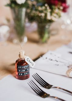Edible/Drinkable Wedding Favours - North Hidden Barn For A Rustic Wedding With Festoon Lights And A Ceilidh With Groom In Kilt And Images From John Barwood Photography