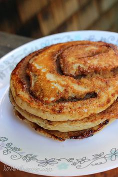 Cinnamon Roll Pancakes, made these this morning, and they look wonderful (haven't eaten them yet!)