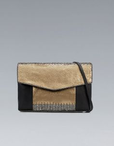 EMBROIDERED LEATHER CLUTCH BAG - Handbags - Woman - ZARA United States