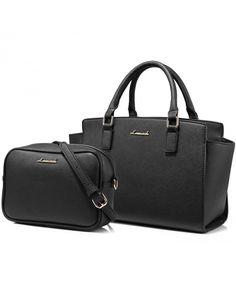 Tote Bag Structured Designer Handbags Purses Satchel Bags 2PCS Set for Women  - Black - CC187Z4NDLG 2f26ddde9a78f