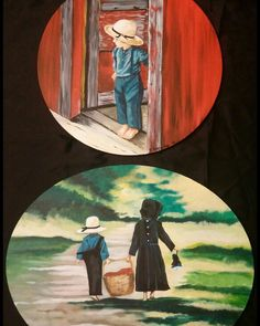 Country Life Series, acrylic paintings 1 and 2. American Amish Children.