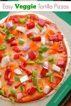 Easy Veggie Tortilla Pizzas  ~ vegetarian, healthy, and fast! | 5DollarDinners.com