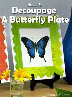 DIY Decoupaged Butterfly Plates - add color to your decor with vibrant butterfly plates! This complete step by step tutorial explains how to re-size and print the clip art, how to create a pretty border with printed scrapbook paper, and how to decoupage them to plain glass plates using Mod Podge. Great DIY home accent project!