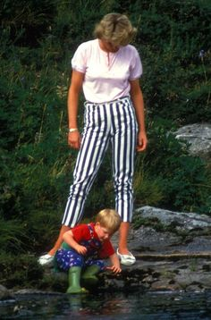 Diana with Harry in his adorable little frog boots.