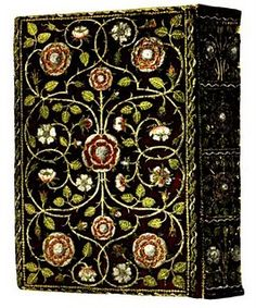 Elizabethan bookbinding - gorgeous embroidery!