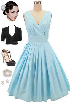 50s Style Lt BLUE SWISS POLKA DOT Bombshell PINUP Surplice SunDress w/FULL Skirt