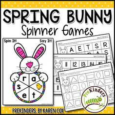 These hands-on Spring Bunny (or Easter) Spinner Games help children practice letter identification and letters sounds, numeral identification, and identifying & shapes. Includes both uppercase and lowercase letters. These can be used in Spring or Tree Life Cycle, Abc Bible Verses, Farm Songs, Father's Day Activities, Easter Activities, Math Literacy, Kindergarten Classroom, Christian Preschool, Sequencing Cards