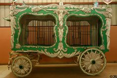 Carl Hagenbeck green & gold animal cage circus wagon (1905) at Circus World Museum. Baraboo, WI.