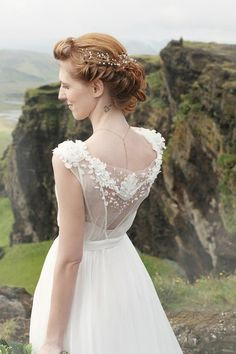 Milk shade open back wedding dress with cotton slip by CathyTelle